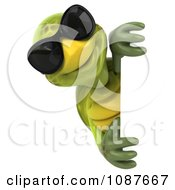 Clipart 3d Happy Tortoise Wearing Shades Around A Sign Royalty Free CGI Illustration