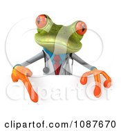 3d Doctor Springer Frog With A Sign