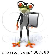 Clipart 3d Business Springer Frog Holding A Tablet 1 Royalty Free CGI Illustration by Julos