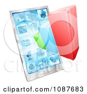 Clipart 3d Bar Graph And Touch Screen Cell Phone Royalty Free Vector Illustration by AtStockIllustration
