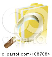 Clipart 3d Magnifying Glass Searching Folder Archives Royalty Free Vector Illustration by AtStockIllustration