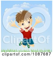 Clipart Energetic Boy Jumping Above Grass Outdoors Royalty Free Vector Illustration