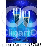 3d Champagne Flutes And Confetti With Blue Flares