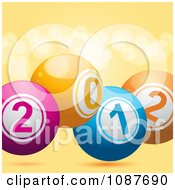 Clipart 3d New Year 2012 Bingo Or Lottery Balls Over Orange Flares Royalty Free Vector Illustration by elaineitalia