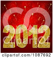 Clipart Golden 2012 New Year Over Red Rays And Stars Royalty Free Vector Illustration