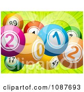 Clipart 3d New Year 2012 Bingo Or Lottery Balls Over Green Rays Royalty Free Vector Illustration by elaineitalia