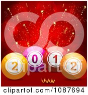 Clipart 3d New Year 2012 Bingo Or Lottery Balls Over Red With Stars Royalty Free Vector Illustration by elaineitalia