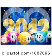 3d New Year 2012 With Bingo Or Lottery Balls Over Blue With Stars