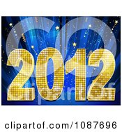 Clipart Golden 2012 New Year Over Blue Rays And Stars Royalty Free Vector Illustration