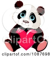 Clipart Cute Valentine Panda Holding A Heart Royalty Free Vector Illustration