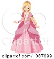 Clipart Beautiful Blond Princess In A Pink Gown Royalty Free Vector Illustration
