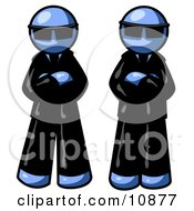 Two Blue Men Standing With Their Arms Crossed Wearing Sunglasses And Black Suits Clipart Illustration
