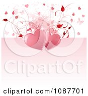 Pink And White Floral Heart Butterfly Valentine Background