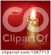 Clipart Gold Candle And Merry Christmas Greeting On Red Royalty Free Illustration