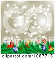 Clipart Christmas Garland With Festive Ornaments Against Gold Sparkles Royalty Free Illustration
