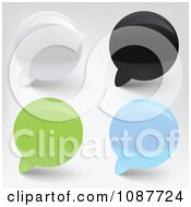 Clipart 3d White Black Green And Blue Speech Bubbles Royalty Free Vector Illustration