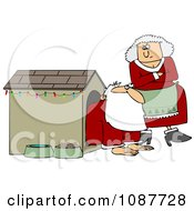 Mrs Clause Tapping Her Foot And Staring At Santa In A Dog House