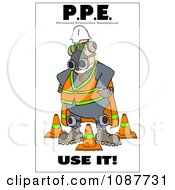 Clipart Worker Covered In Protective Gear With A Safety Warning Royalty Free Illustration by djart
