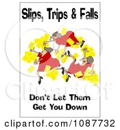 Clipart Woman Slipping With A Safety Warning Royalty Free Illustration