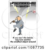 Clipart Worker Carrying A Flag Pole In A Lightning Storm With A Safety Warning Royalty Free Illustration