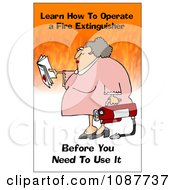 Clipart Woman Holding A Fire Extinguisher With A Safety Warning Royalty Free Illustration by djart