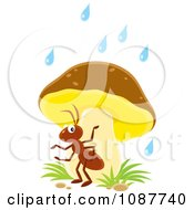 Clipart Ant Seeking Shelter From The Rain Under A Mushroom Royalty Free Illustration by Alex Bannykh