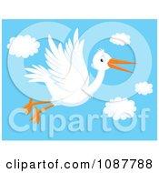 Happy White Stork In Flight In A Sky