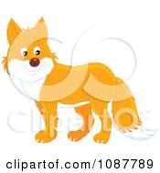 Clipart Cute Orange And White Fox Royalty Free Vector Illustration by Alex Bannykh