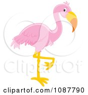 Clipart Pink Flamingo Balanced On One Leg Royalty Free Vector Illustration by Alex Bannykh
