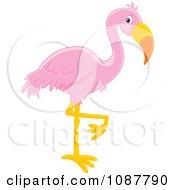 Clipart Pink Flamingo Balanced On One Leg Royalty Free Vector Illustration by Alex Bannykh
