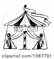 Clipart Sketched Circus Big Top Tent And Banner Royalty Free Vector Illustration