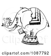 Sketched Circus Elephant With A Mouse On Its Trunk