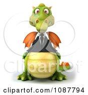 Clipart 3d Green Business Dragon Royalty Free CGI Illustration