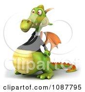 Clipart 3d Green Business Dragon Facing Left Royalty Free CGI Illustration