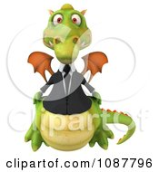 Clipart 3d Green Business Dragon Facing Front Royalty Free CGI Illustration by Julos