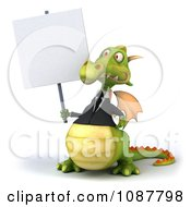 Clipart 3d Green Business Dragon Holding A Sign Royalty Free CGI Illustration