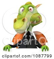 Clipart 3d Green Business Dragon Holding Up A Sign Royalty Free CGI Illustration