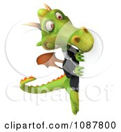 Clipart 3d Green Business Dragon Looking Around A Sign Royalty Free CGI Illustration