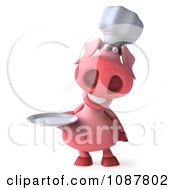 Clipart 3d Chef Pig Holding A Plate 1 Royalty Free CGI Illustration