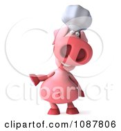 Clipart 3d Chef Pig Pointing Royalty Free CGI Illustration