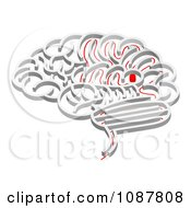 Clipart 3d Brain Shaped Maze With A Red Path Leading To The Center Royalty Free Vector Illustration