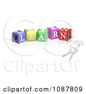 Clipart 3d Keys Attached To LEARN Letter Blocks Royalty Free Vector Illustration