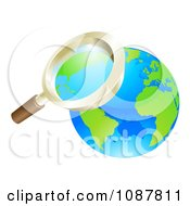 Clipart 3d Zoom Magnifying Glass Over Earth Royalty Free Vector Illustration
