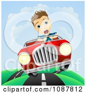 Clipart Scared Man Losing Control Of His Vintage Sports Car Royalty Free Vector Illustration by AtStockIllustration