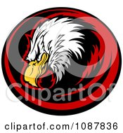 Clipart Bald Eagle Head Mascot In A Red And Black Circle Royalty Free Vector Illustration