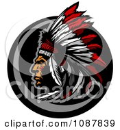 Clipart Native American Chief Profile With A Feather Headdress Royalty Free Vector Illustration by Chromaco #COLLC1087839-0173