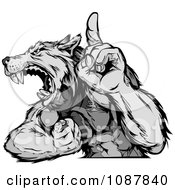 Clipart Victorious Wolf Mascot Flexing His Arm And Holding Up A Finger Royalty Free Vector Illustration