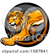 Clipart Prowling Lion Mascot Stepping Through A Circle Royalty Free Vector Illustration