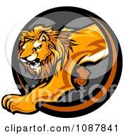 Prowling Lion Mascot Stepping Through A Circle