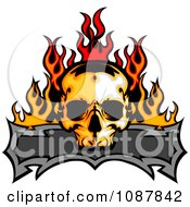 Fiery Skull And Blank Banner With Flames